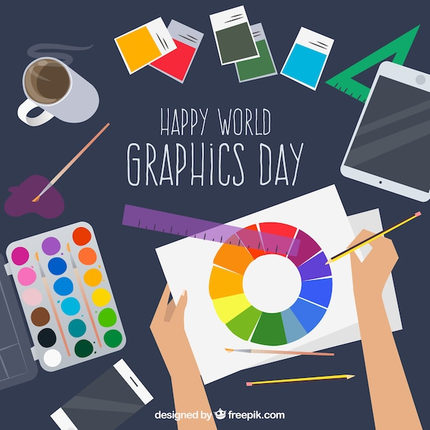 World graphics day background with desk Free Vector