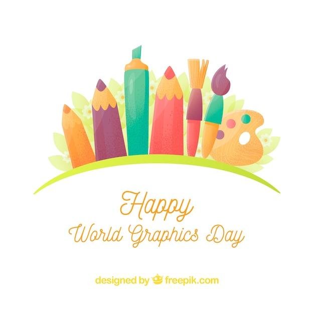 Всемирный день графического дня с различными инструментами для рисования Бесплатные векторы