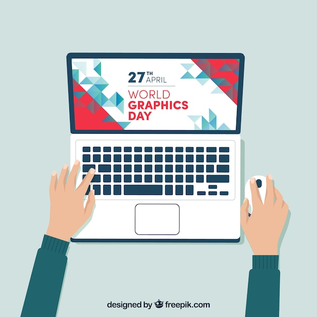 World graphics day background with laptop Free Vector