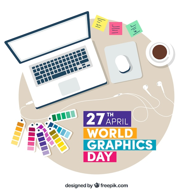 World graphics day background with work desk Free Vector