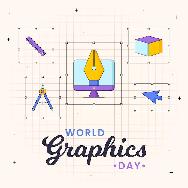 World graphics day illustration Premium Vector