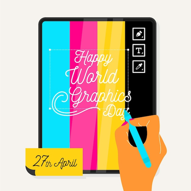 World graphics day illustration Free Vector