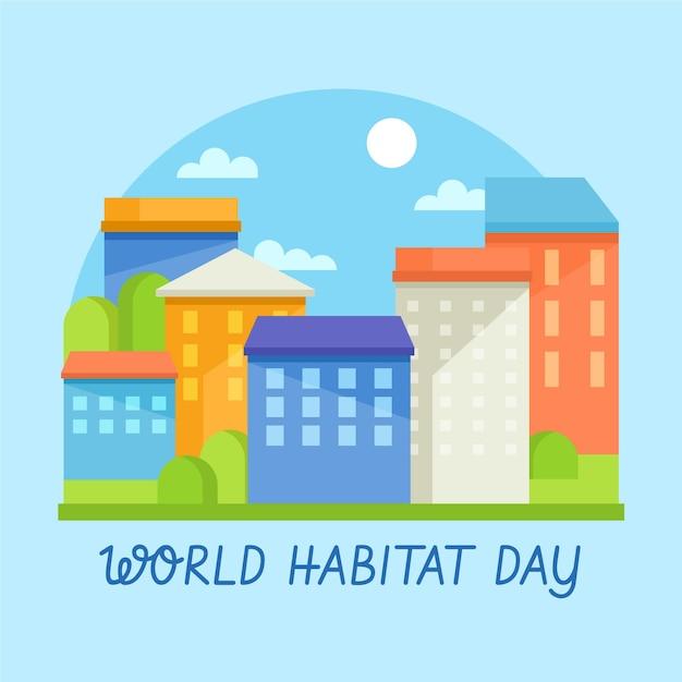World habitat day in flat design Free Vector
