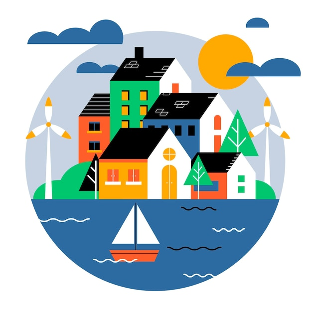World habitat day illustration with city and boat Free Vector