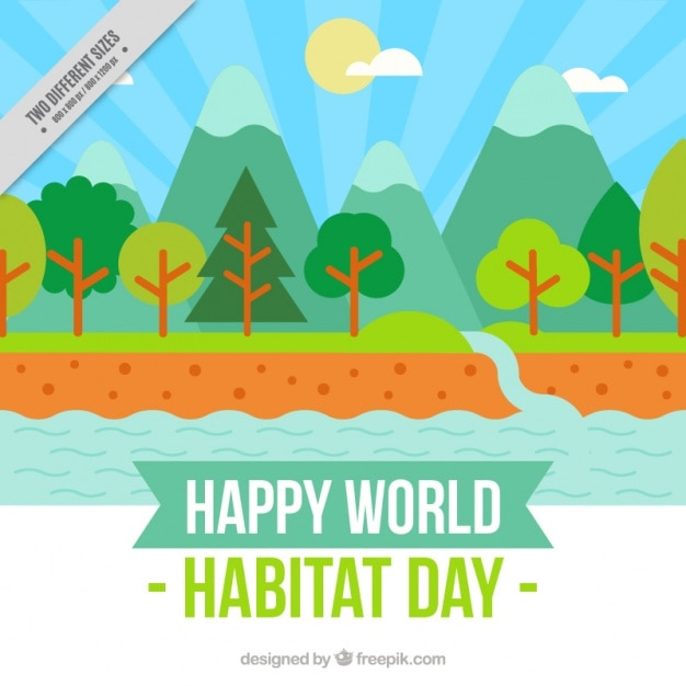 world habitat day landscape background with\ river in flat design