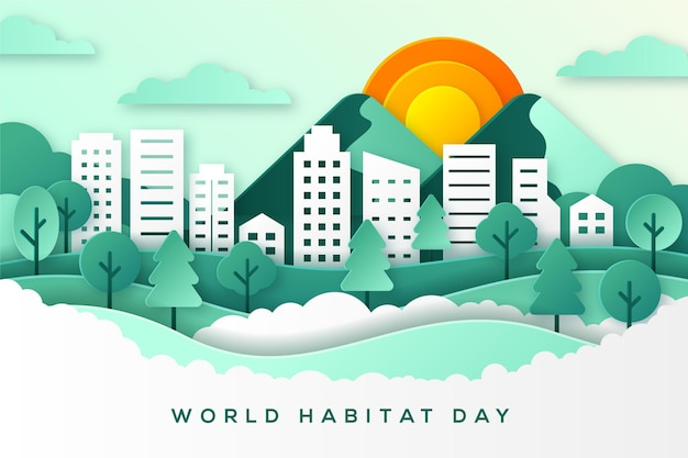 World habitat day in paper style concept Free Vector