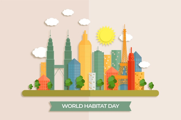 World habitat day in paper style Free Vector