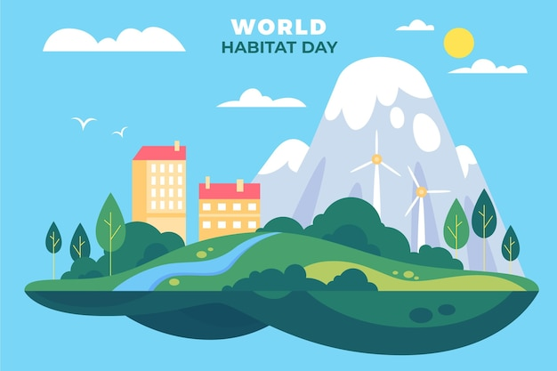 World habitat day theme Premium Vector