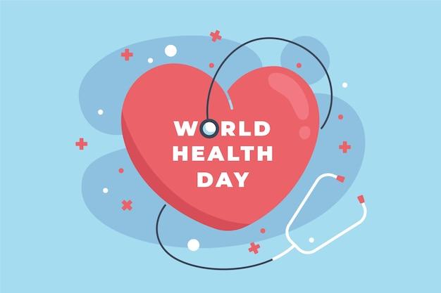 World health day background flat design Free Vector