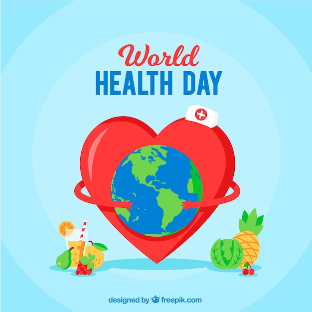 World health day background in flat\ style