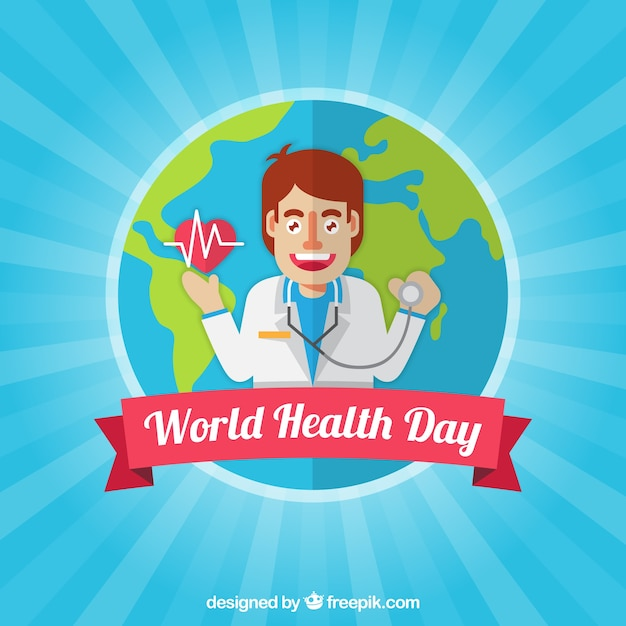 World health day background with a\ doctor