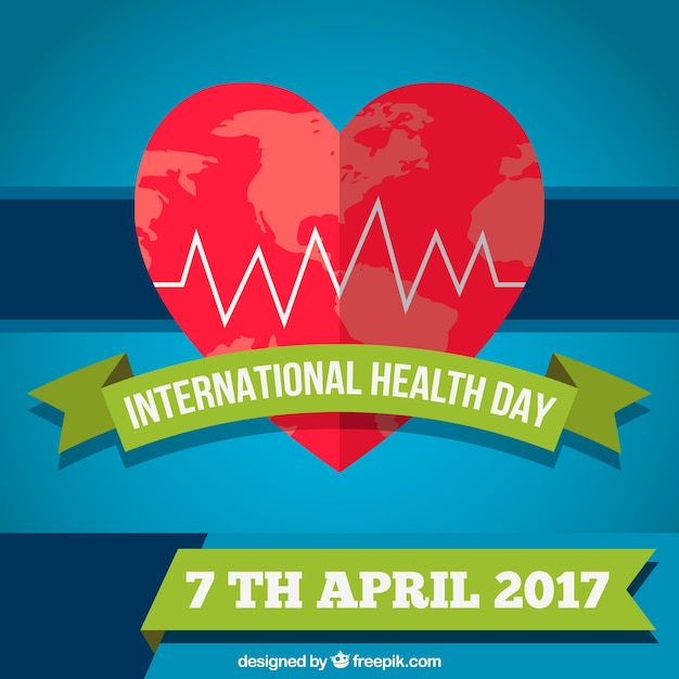 World Health Day Background With Heart Free Vector