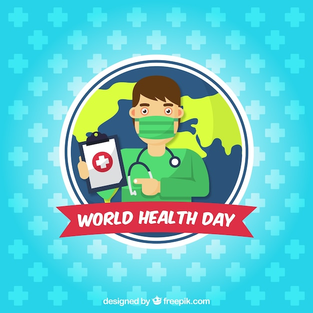 World health day background with surgeon