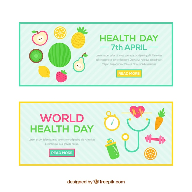 World health day banners in flat style