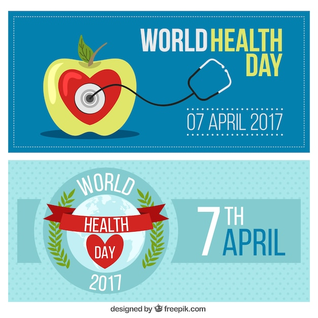 World Health Day Banners Free Vector