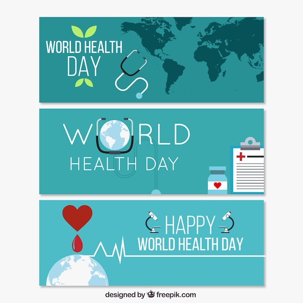 World Health Day blue banners