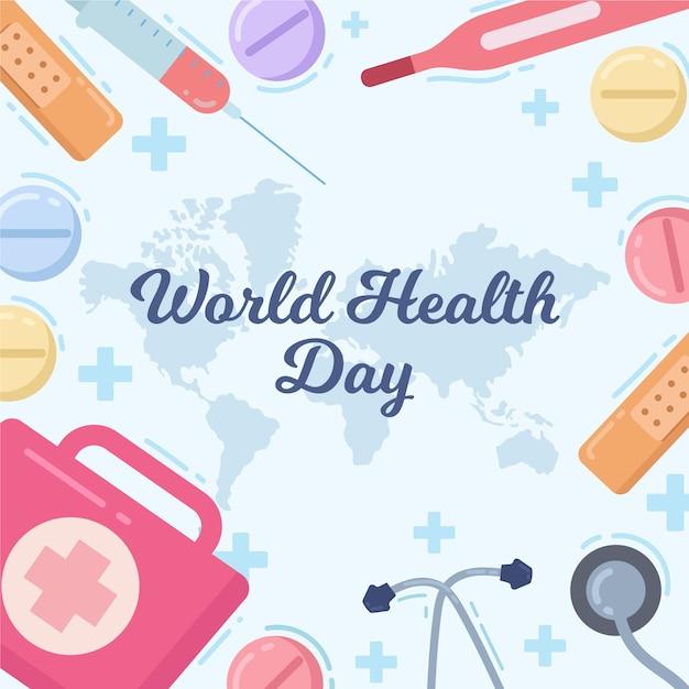 World health day celebration theme   Free Vector