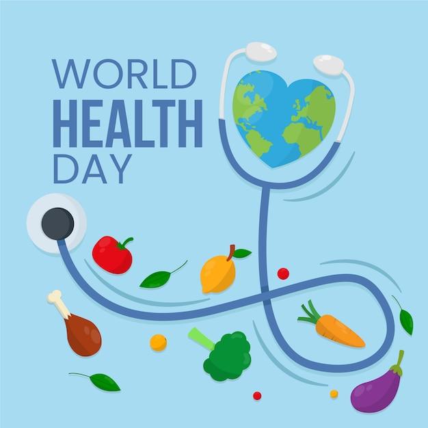 野菜と世界保健デーフラットデザインの背景 無料ベクター