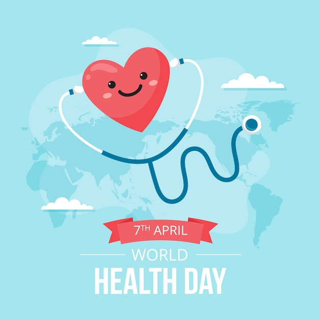 World health day flat design background Free Vector