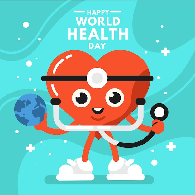 World health day in flat design Free Vector