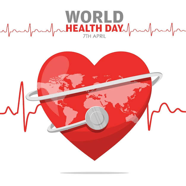 World health day heartbeat of red heart Premium Vector