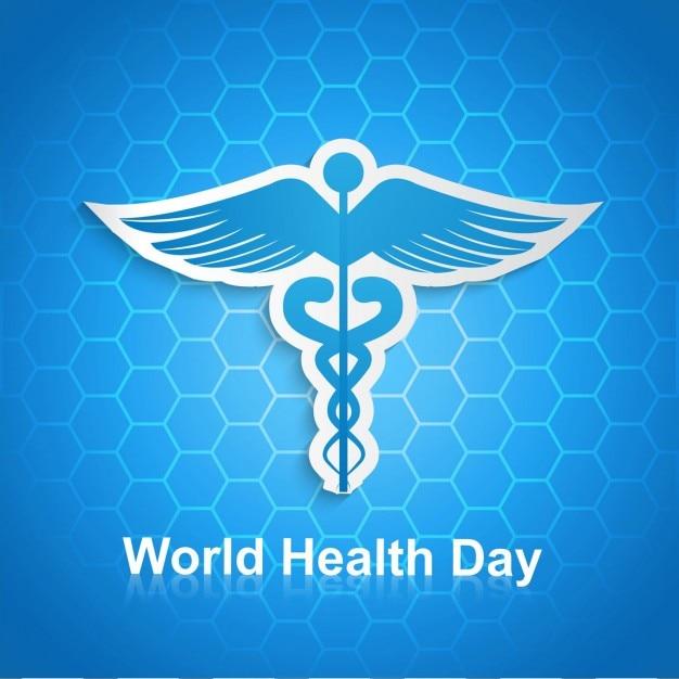 World health day hexagonal background with\ caduceus symbol