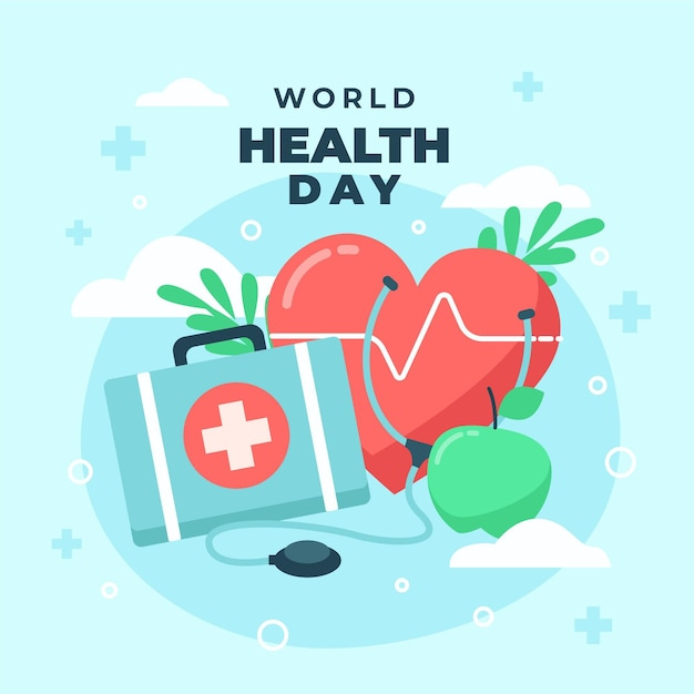 World health day illustration with heart and first aid kit Free Vector