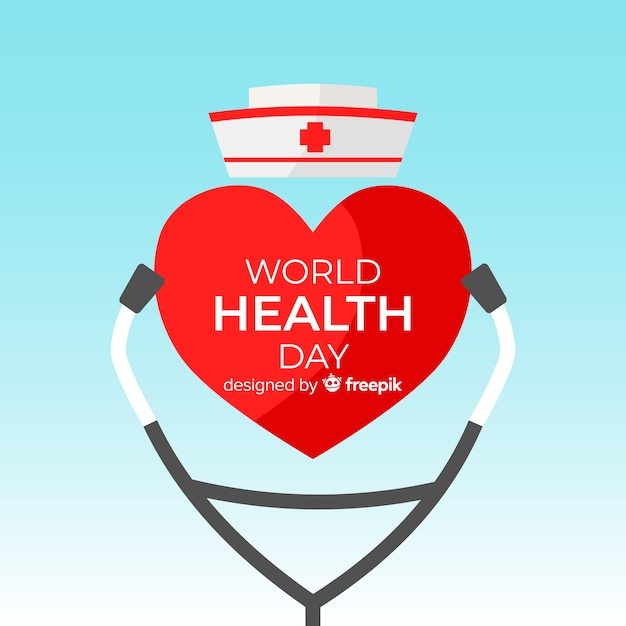 World health day illustration with medical equipment Free Vector