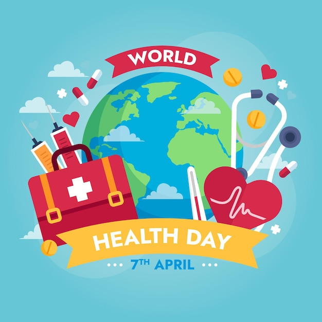World health day illustration with planet and first aid kit Free Vector