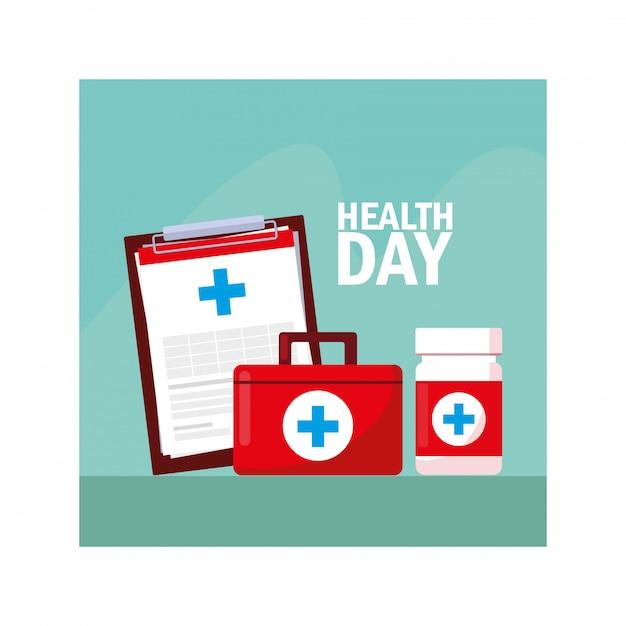 Всемирный день здоровья этикетка с лекарствами Premium векторы