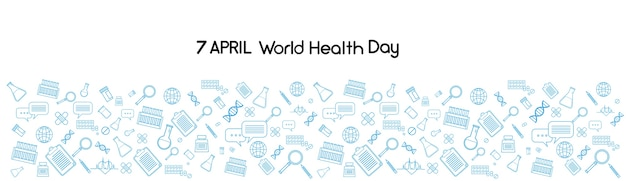 World health day medicine banner sketch background Premium Vector
