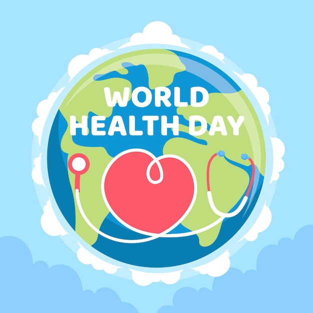 World health day wallpaper flat design Free Vector