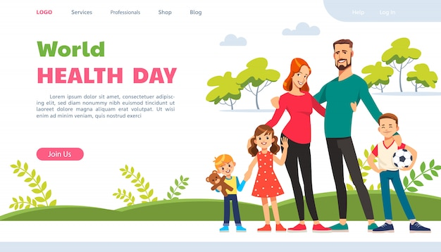 World health day. website page with happy family. active lifestyle, wholesome nutrition and sports. Premium Vector