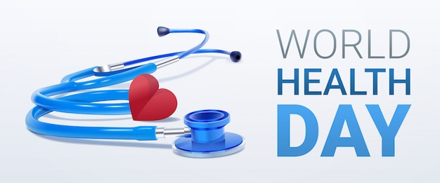 World health day with heart and stethoscope Premium Vector
