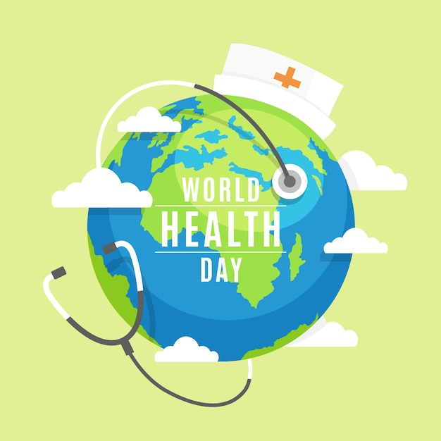 World health day with planet earth wearing a nurse cap Premium Vector