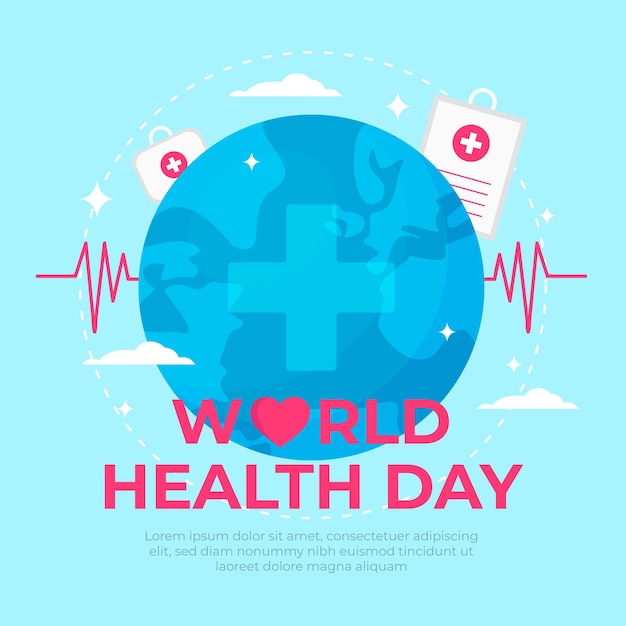 World health day with pulse line Free Vector