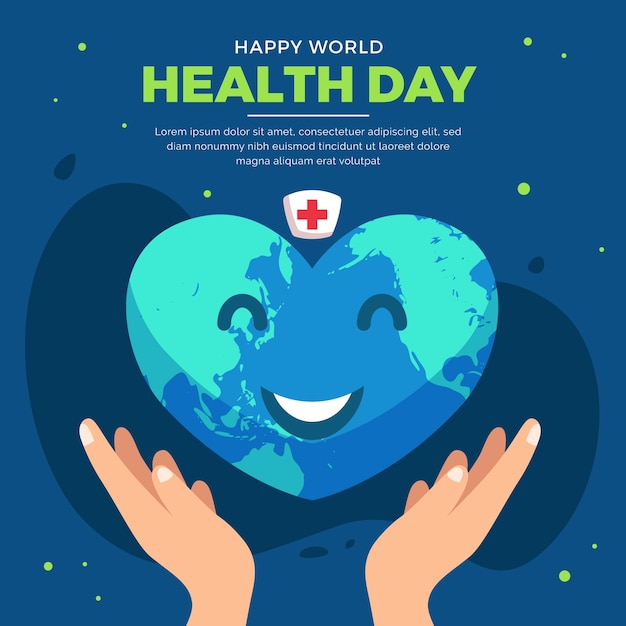 World health day with smiley earth in heart shape Free Vector
