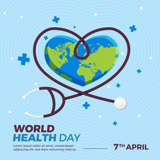 World health day with stethoscope and heart shaped earth Free Vector