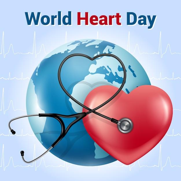 世界心臓の日。現実的なスタイルのバナー。 phonendoscope(聴診器)と赤いハート。青色の背景に心電図。 Premiumベクター