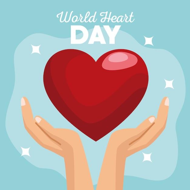 Всемирный день сердца руками, защищающими сердце на синем фоне. Premium векторы