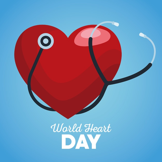 青い背景で聴診器で世界の心の日。 Premiumベクター