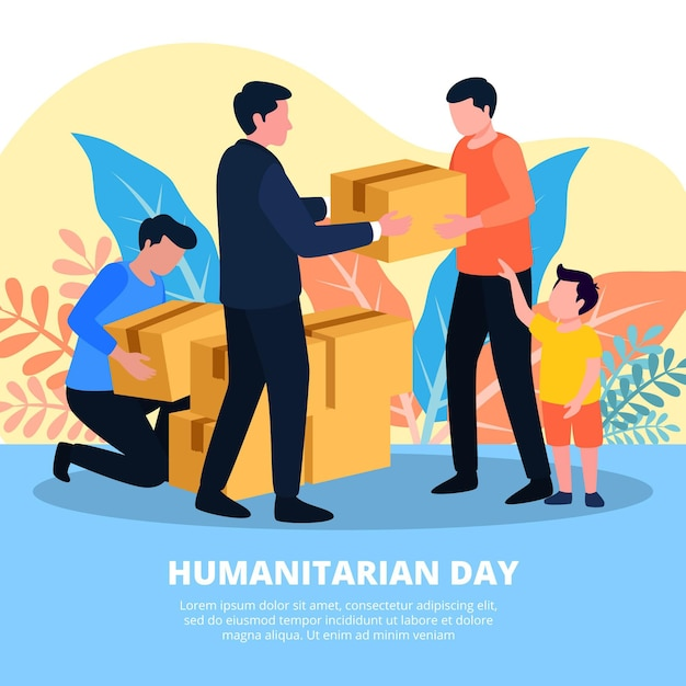 World humanitarian day illustration theme Free Vector