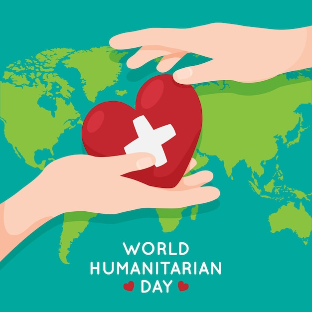 World humanitarian day illustration Free Vector