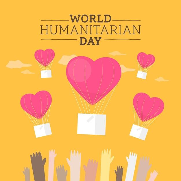 Всемирный гуманитарный день в плоском дизайне Бесплатные векторы