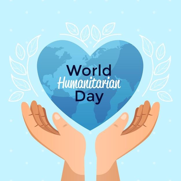 Giornata mondiale umanitaria con le mani che tengono il pianeta a forma di cuore Vettore gratuito