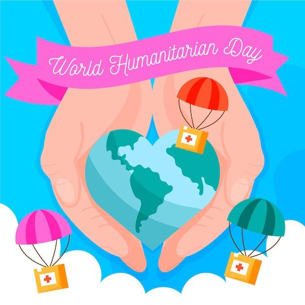 Giornata mondiale umanitaria con il pianeta a forma di cuore Vettore gratuito