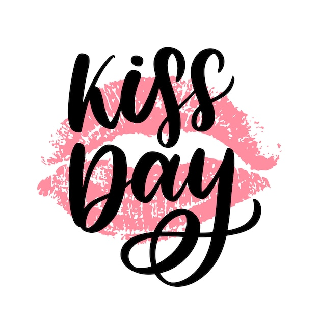 World kissing day. the inscription is written by hand with ink. Premium Vector