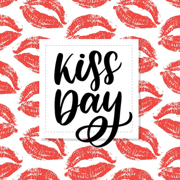 World kissing day lettering on lips pattern background. Premium Vector