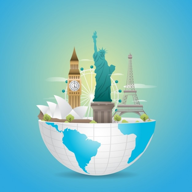 World landmarks design Free Vector