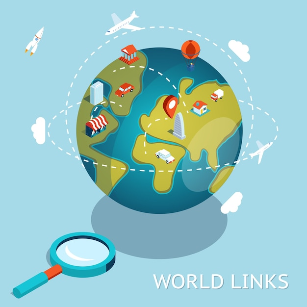 World links. global communication air and car connection. Free Vector